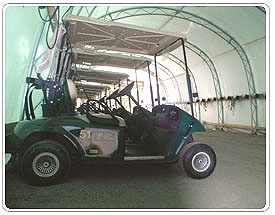 Inside the Steel Truss, Fabric Covered, Building Solution for Golf Cart Storage Buildings - Milestones Building & Design